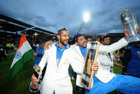 Dhawan and Jadeja win Champions Trophy golden bat and ball