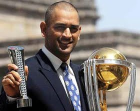 MS Dhoni with the ICC World Cup 2011